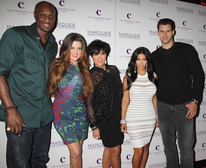 Lamar Odom, Khloe Kardashian, Kris Jenner, Kim Kardashian, Kris Humphries, and Kim Kardashian celebrate Kim's birthday at Marquee Nightclub at Cosmopolitan in Las Vegas, October 22, 2011