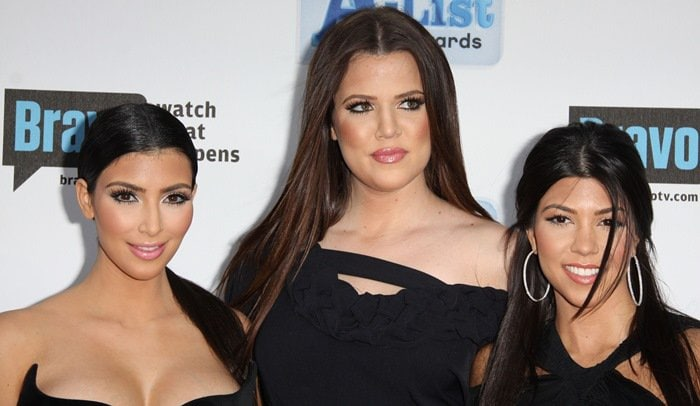 Kim Kardashian, Khloe Kardashian and Kourtney Kardashian at Bravo's Second Annual 'The A-List Awards' held at the Orpheum Theatre in Los Angeles on April 5, 2009