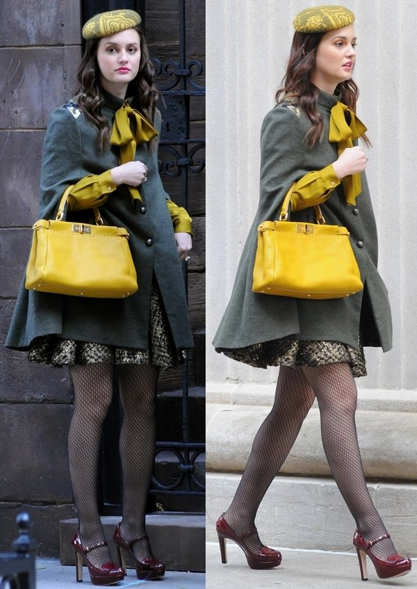 Leighton Meester in a Gryphon olive-green cape, a mustard necktie blouse, and an Alice + Olivia 'Oshi' flared boucle skirt