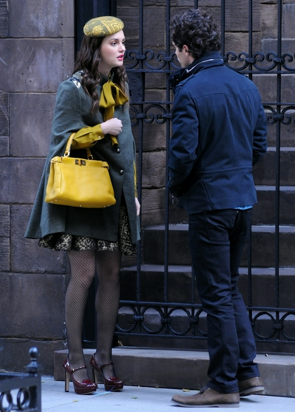 Leighton Meester and Penn Badgley on the set of 'Gossip Girl' filming on location in Manhattan New York City, October 31, 2011