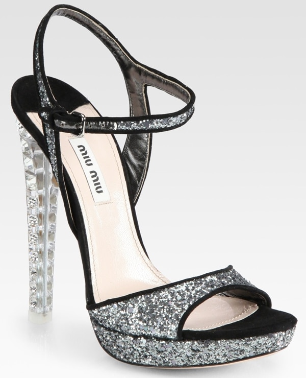 Miu Miu Glitter and Suede Sandal in Silver