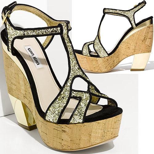 Miu Miu glitter wedge platform sandal