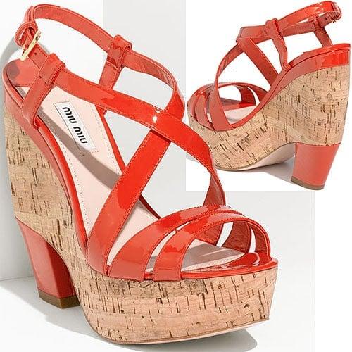 Miu Miu strappy cork wedge sandal