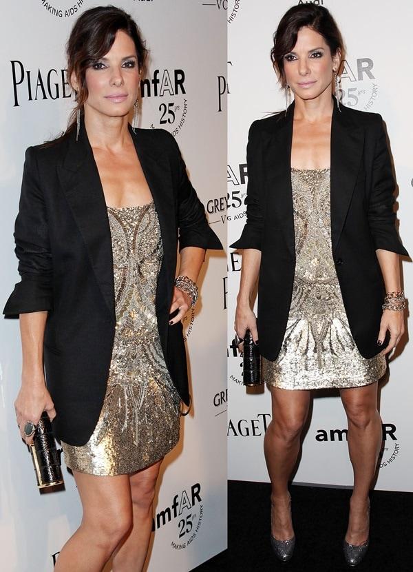 Sandra Bullock wears her hair back at the 2011 amfAR Inspiration Gala