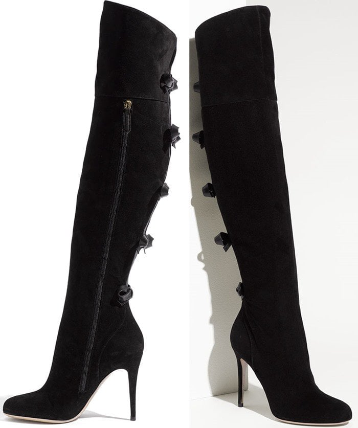 Valentino Bow Trim Over the Knee Boot