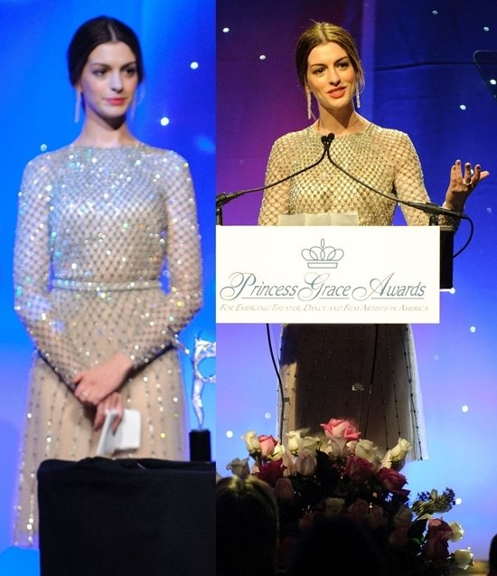 Anne Hathaway attends the Princess Grace Awards Gala in New York on November 1, 2011