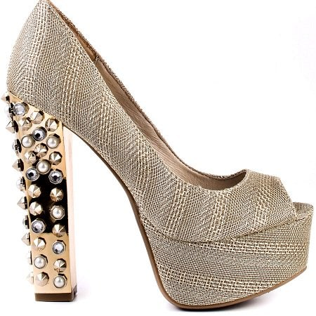 Jayla is showcased with a gold textured upper and a 1 1/2 inch platform