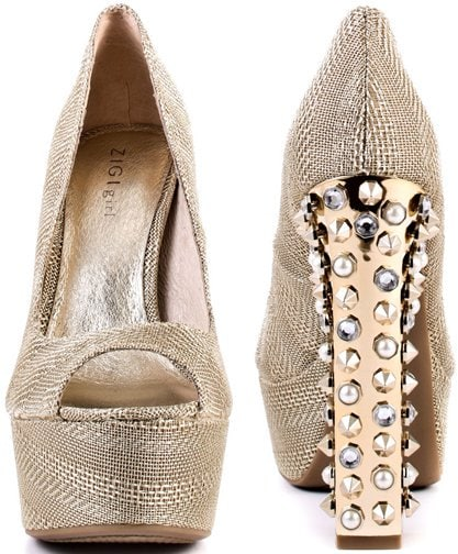This peep toe style will make everyone ooh and ahh with it's embellished 6 inch gold heel encrusted with studs and pearls