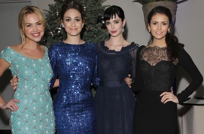 Arielle Kebbel, Emmy Rossum, Krysten Ritter and Nina Dobrev at the Ripple Effect Benefiting The Water Project Charity held at Sunset Luxe Hotel in Los Angeles on December 10, 2011