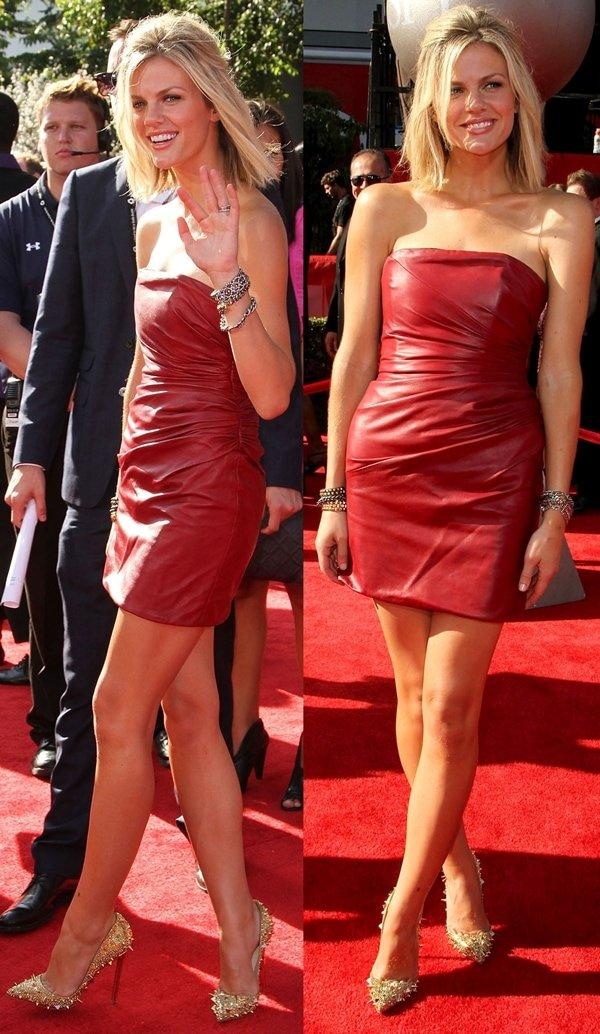 Brooklyn Decker flaunted her legs in a Jay Ahr mini leather dress
