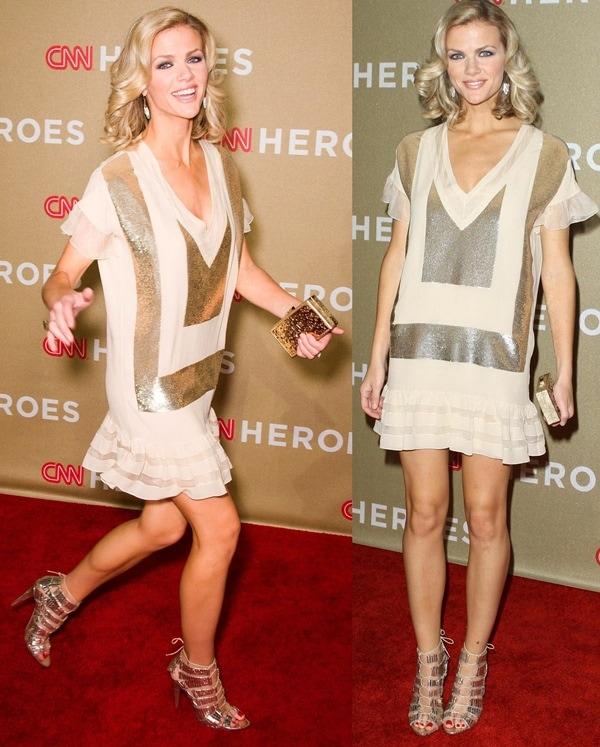 Brooklyn Decker paraded her legs in shapeless Christian Dior shift dress