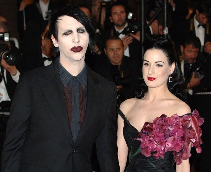 Burlesque artist Dita von Teese and her husband, musician Marilyn Manson, attend the 'Southland Tales' premiere