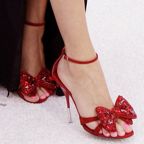 Giuseppe Zanotti red ankle strap bow sandals