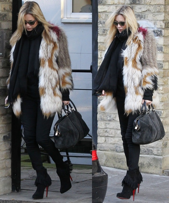 Kate Moss Mixes Fur Knits And Leather In Rom Fringed Suede Boots