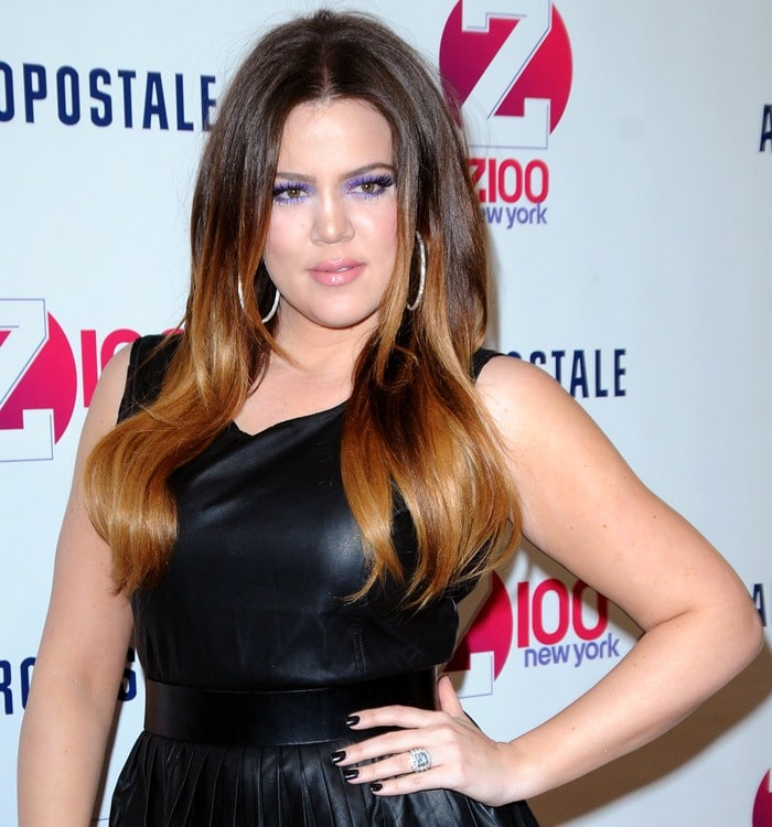 Khloe Kardashian rocking aRebecca Minkoff leather pleated clueless skirt