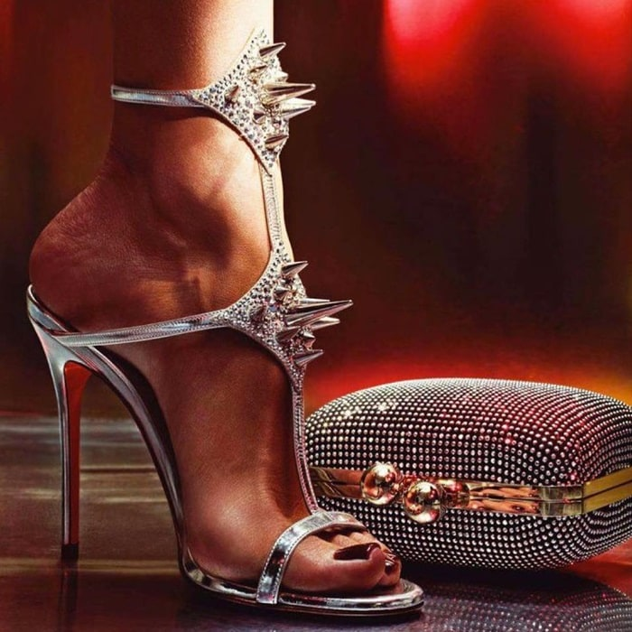 Silver 'Lady Max' Spike T-Strap Sandals