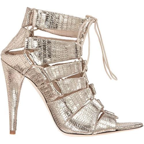 Natane metallic snake-embossed lace-up sandals