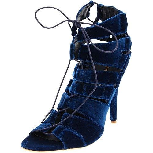 Loeffler Randall Natane blue velvet lace-up sandals