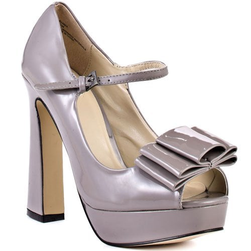 Lori's Bamma Bow Mary Janes With Flared Heels in Drak Gray