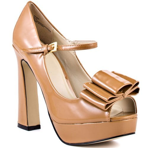 Lori's Bamma Bow Mary Janes With Flared Heels in Camel
