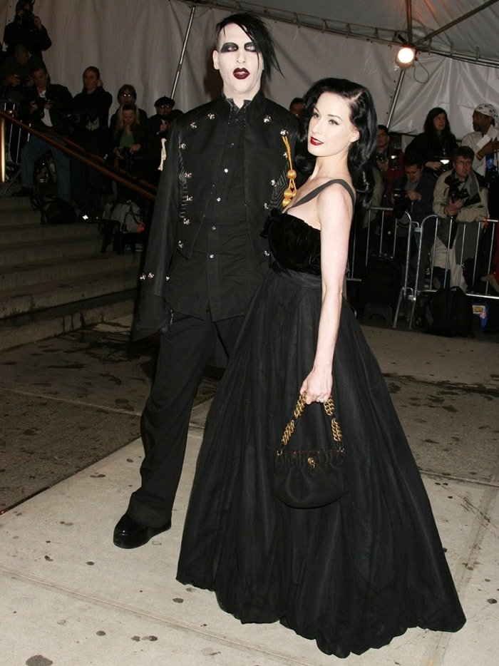 """Marilyn Manson and Dita Von Teese during The Costume Institute's Gala Celebrating """"Chanel"""" at The Metropolitan Museum of Art"""