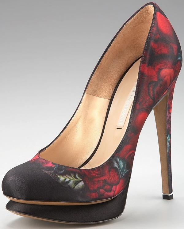 Nicholas Kirkwood floral satin pumps