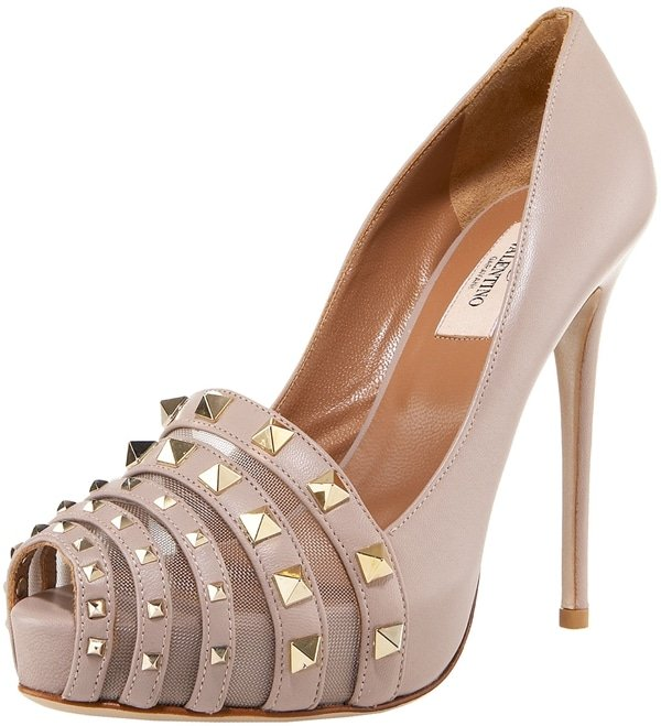 Valentino Rockmance Mesh & Leather Pumps in Blush