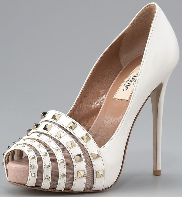 Valentino 'Rockmance' Mesh & Leather Pumps in White