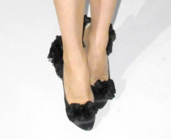 """Dita Von Teese's feet in """"Escandria"""" pumps"""