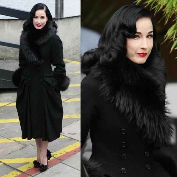 Dita Von Teese wears her dark hair down outside the ITV studios