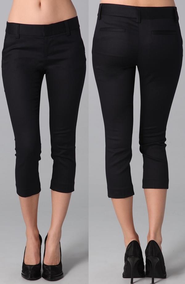 Alice & Olivia Slim Cropped Pants in Navy