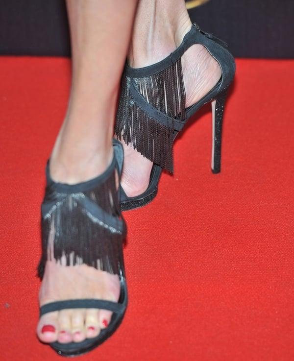 Brenda Strong's feet inBrian Atwood Cassiane sandals