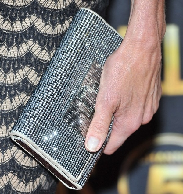 Brenda Strong showing off herSwarovski clutch