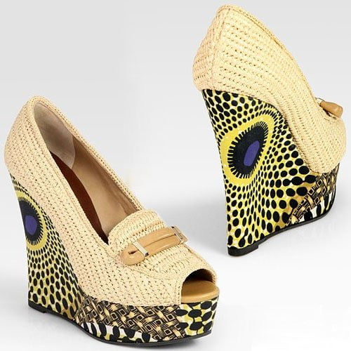 Burberry raffia and leather printed wedge loafers