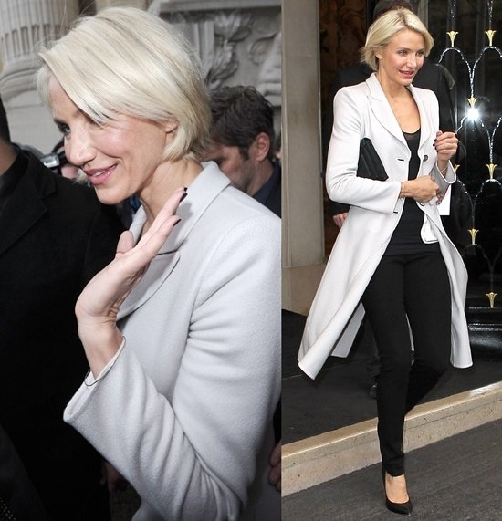 Cameron Diaz was seen in the pointy toe Casadei pump on the way to an Armani Prive Haute Couture event in Paris