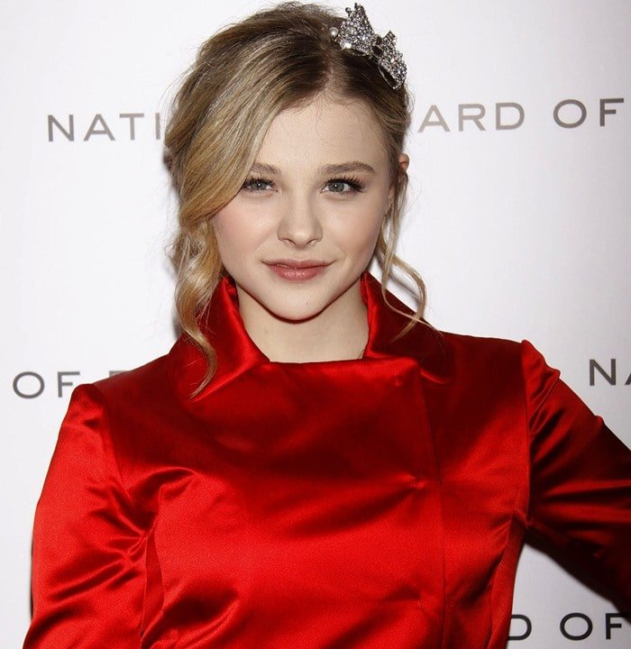 Chloë Grace Moretz rocked a red trench overcoat with peplum details