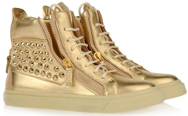 Giuseppe Zanotti Studded Metallic High Top Sneakers