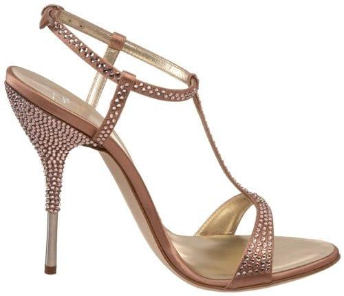Soft salmon colored embellished heels from Giuseppe Zanotti