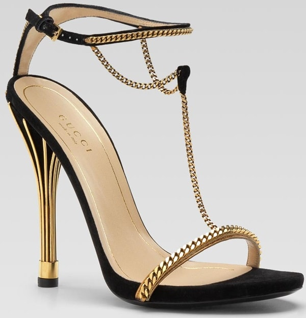 Gucci Ophelie Suede Chain T-Strap Sandals