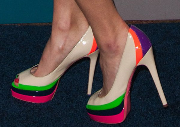 Jamie Chung's feet in colorful Popsicle shoes