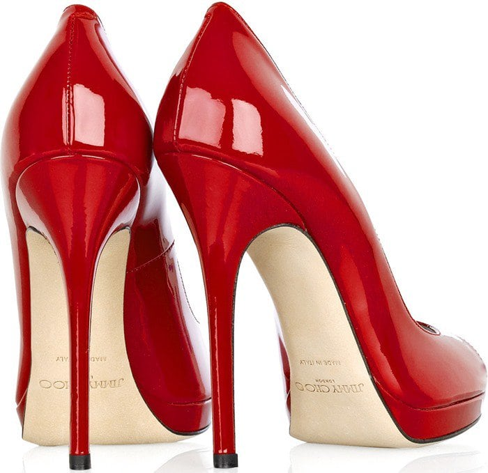 Jimmy Choo Red Quiet Patent-leather Pumps