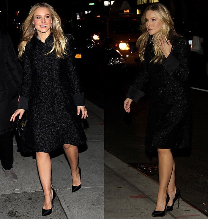 Kristen Bell styled a shiny black trench coat with high heel Casadei shoes