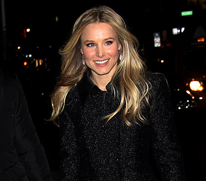 Kristen Bell arrives at the Ed Sullivan Theater to appear on The Late Show with David Letterman