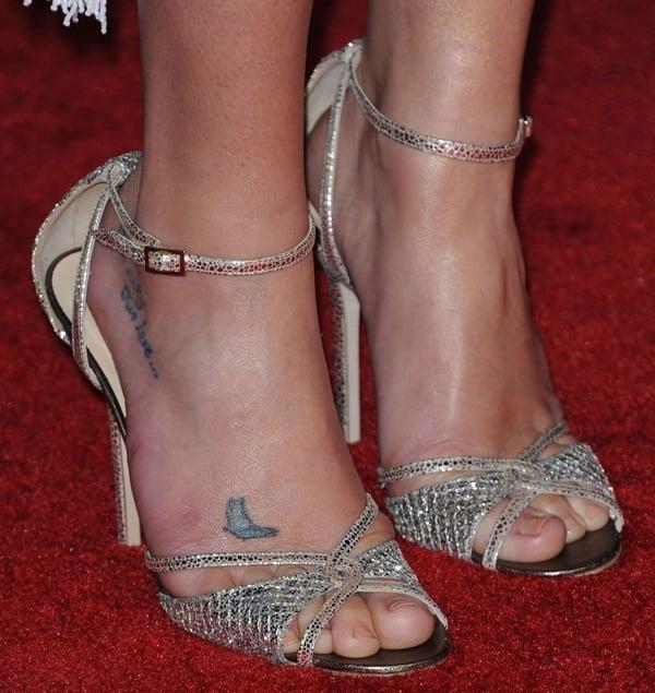 Lea Michele's sexy feet in Jimmy Choo sandals