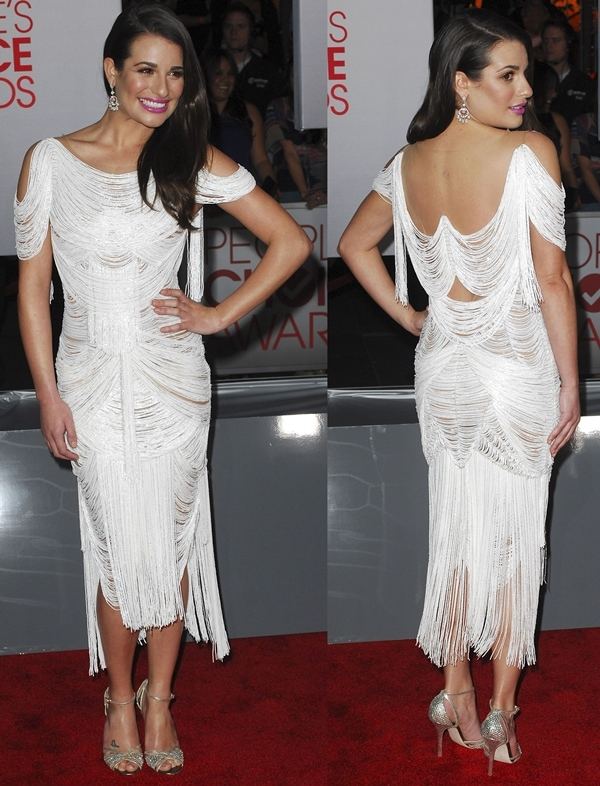 Lea Michele in a white Marchesa Spring 2012 fringe dressat the 2012 People's Choice Awards