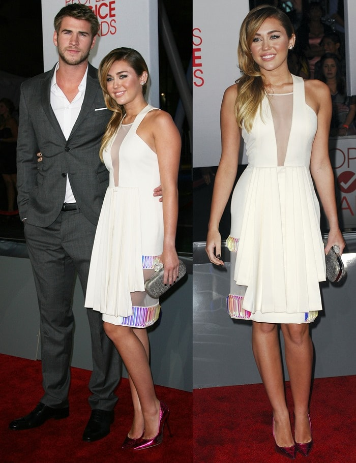 Miley Cyrus and boyfriend Liam Hemsworth at the 2012 People's Choice Awards held at Nokia Theatre L.A. Live in Los Angeles on January 11, 2012
