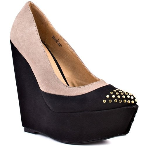 Lovely People Tetra Studded Toe Two-Tone Wedge Pumps