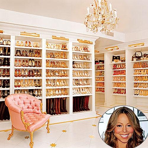 Mariah Carey's famous gilded shoe closet room floor