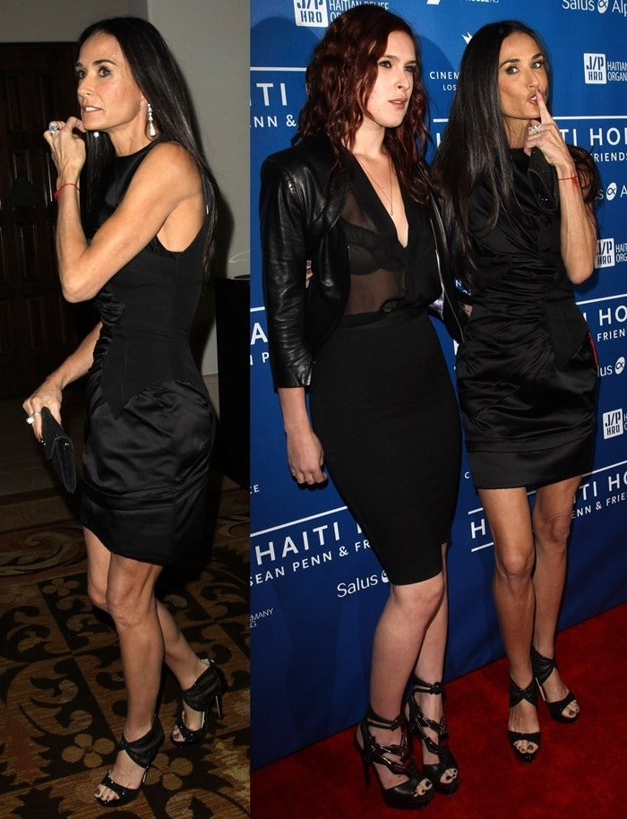Demi Moore kept it simple in an LBD and stunning ankle wrapping sandals from Jimmy Choo