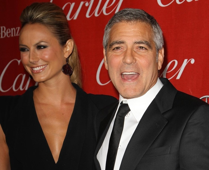 Stacy Keibler and George Clooney at the 23rd annual Palm Springs International Film Festival Awards Gala at the Palm Springs Convention Center in Los Angeles on January 7, 2012